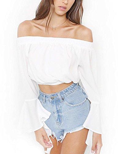 Women's Fashion Summer Off Shoulder Blouse Top Chiffon Blouse Trumpet Sleeve T-Shirt White XL ()