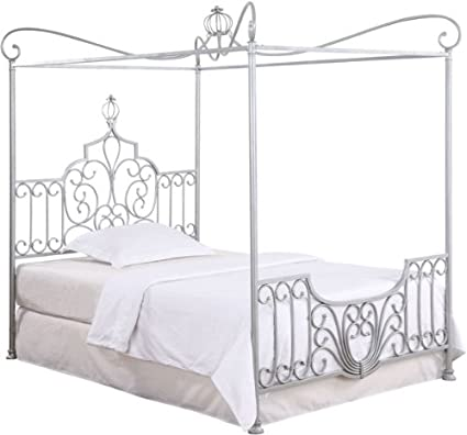 Powell Princess Rebecca Sparkle Silver Canopy Full Bed With P01 Frame Sold Separately