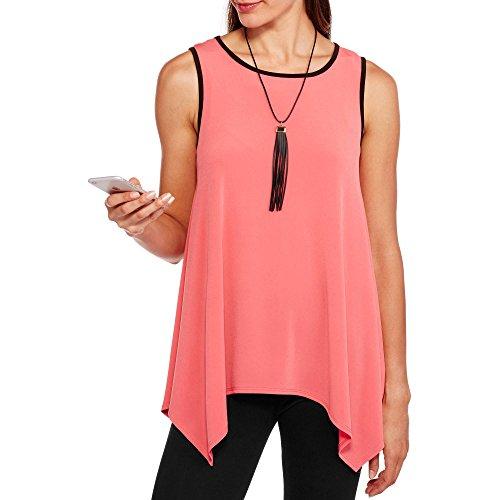 - Glamour & Co Women's Women's Matte Jersey Swing Tank With Bonus Tassel Necklace (X-Large, Coral)