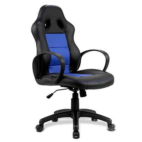 Giantex Office Chair High Back Race Car Style Bucket Seat Gaming Desk Chair (Blue)