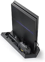 booEy PS4 Controller Ladestation Standfuß mit Kühler Lüfter 3x USB Anschluss schwarz
