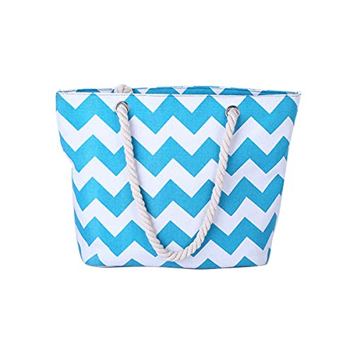 Ladies Shoulder Tote Travel Holiday for and Shopper Shopping Causal Blue Bags Bag Beach Light Bag Canvas gxqrBwg