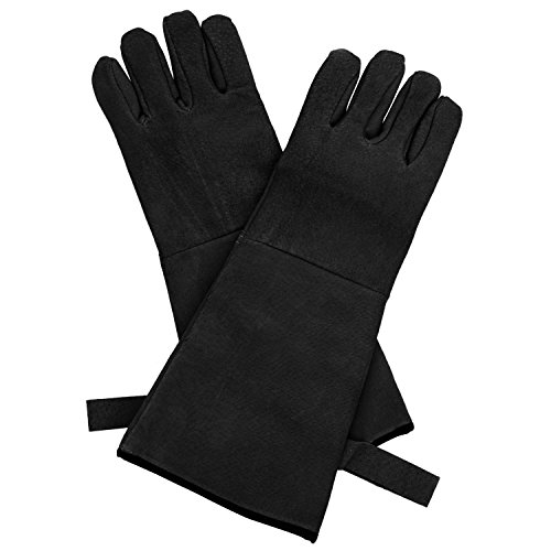 HollyHOME Fireplace Heat Resistant Gloves for Men and Women, 16 Inch Long to Protect Your Arms Until the Elbow, Thorn Proof also for Gardening Use, Black
