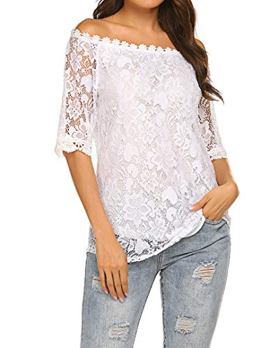 Off The Shoulder Tops Casual Loose Ruffle Sleeve Lace Tunic Shirts White L