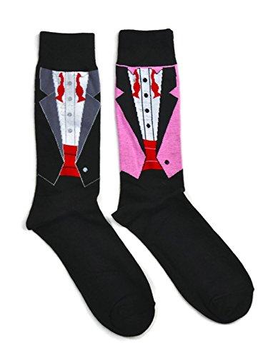 Mens Novelty Trouser Socks 2 Pair Bundle FineFit Themed Pattern (The Groom - - Tuxedo Socks