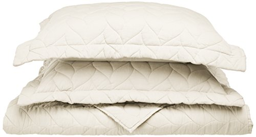 Superior 100% Braided Cotton, Soft, 3-Piece Full/Queen Ashley Quilt Set,  Ivory