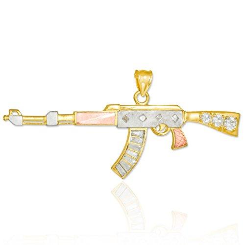 10 ct 471/1000 Trois Couleurs Or AK-47-Gewehr Oxyde de Zirconium Pendentif
