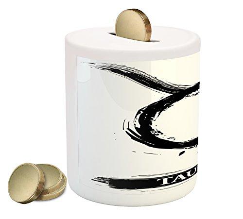 Taurus Zodiac Personality (Taurus Piggy Bank by Lunarable, Brushstroke Style Zodiac Sign Form Personality Artistic Astrology Calendar Artwork, Printed Ceramic Coin Bank Money Box for Cash Saving, Black White)