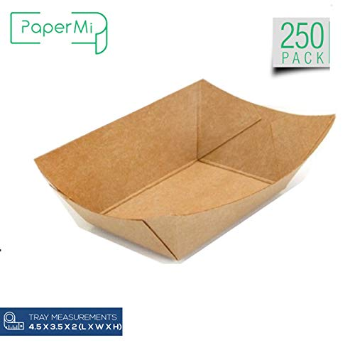 Brown Kraft Paper Food Tray, Mini Size Tray, Eco-Friendly Kraft Take Out Food Trays USA Made, FDA Approved Recyclable & Biodegradable, Convenient for All Event: Party, Camping, Carnival, BBQ(50pcs)