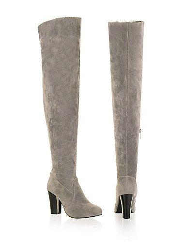 XZZ/ Damen-Stiefel-Kleid / Lässig-Vlies / Kunstleder-Blockabsatz-Rundeschuh / Modische Stiefel-Schwarz / Blau / Gelb / Grau gray-us9.5-10 / eu41 / uk7.5-8 / cn42