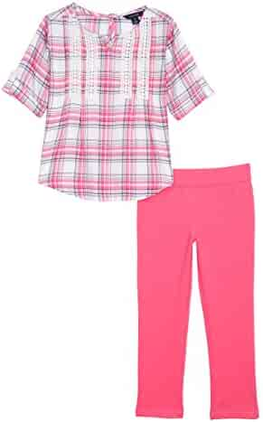 Nautica Girls' Woven Top with Lace and Knit Jegging
