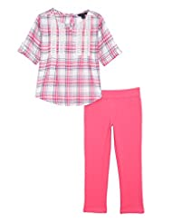 Nautica Little Girls\' Woven Top with Lace and Knit Jegging, ...