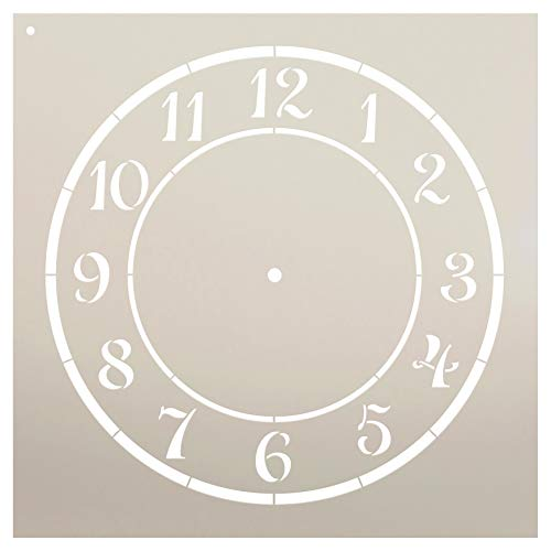 tencil - by StudioR12 - Reusable - Craft a Perfectly Spaced Clock- Farmhouse Country - for Wood or Metal Clock, decoupage, Mixed Media, Paint - Select Size - STCL1525 (6