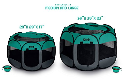 Ruff 'n Ruffus Portable Foldable Pet Playpen with Carrying Case & Collapsible Travel Bowl | Indoor / Outdoor use | Water resistant | Removable shade cover | Dogs / Cats / Rabbit | Available In 2 Sizes by Unleashed (Image #2)'