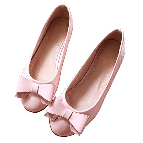Pink MAIERNISI JESSI Shoes Women's Toe Round Flat Ballet Bowknot qzxU8wn7q