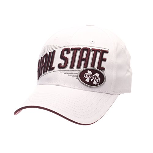 Zephyr Cotton Cap - ZHATS NCAA Mississippi State Bulldogs Adult Men's Crossover Cap, Adjustable Size, White