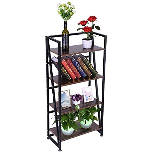 Swyss Folding-Bookshelf Storage Shelves 4 Tiers Bookcase Home Office Cabinet No-Assembly Industrial Standing Racks Study Organizer, 23.6x11.8x49.4 Inch