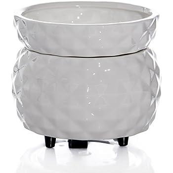 Original Candle Warmer - White Textured Pattern - 2 in 1 Tart Melt Burner
