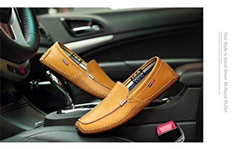 de Style2 Size Mocasines Shoes hombre genuino de Large Yellow Loafer On Driving Soft Men Flats cuero Slip 14Hqw6d4