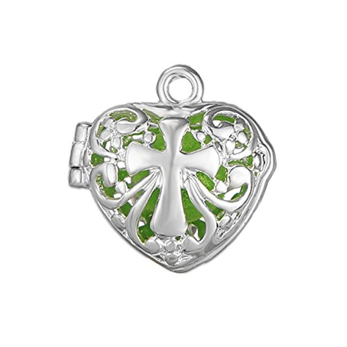 10pcs Cross Heart Shape Silver Plated Bead Cage Locket Pendant - Add Your Own Stones, Rock to Cage,Add Perfume and Essential Oils to Create a Scent Diffusing Pendant Charms Fit Necklace - 9mm Heart Pendant