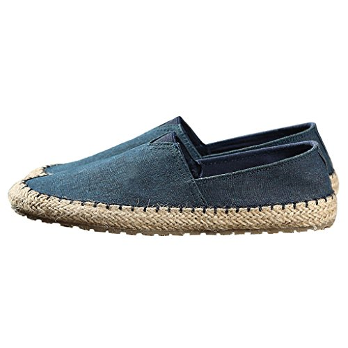 LI shoes 5 Blu uomo Scarpe traspirante SHOP estate Pechino libero pigro CN40 UK6 dimensioni EU39 tempo vecchia paglia XIANG Colore pescatore Nero tela da di da SHI canvas r4pIqWwrC