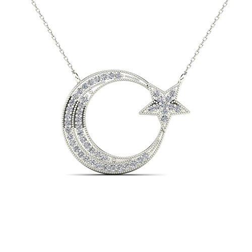 JewelAngel 10k White Gold 1/8ct TDW Diamond Moon and Star Pendant Necklace (H-I, I1-I2) ()