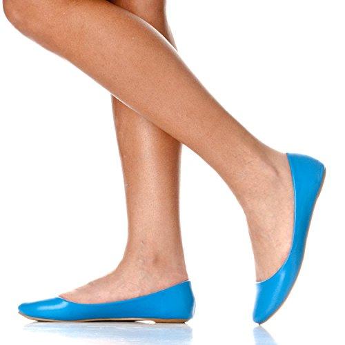 Riverberry Damen Aria Basic Geschlossene Runde Zehe Ballett Flache Slip On Shoe Blauer Pu