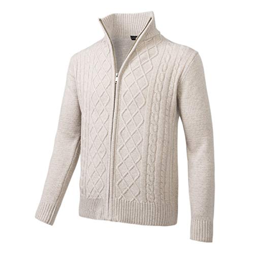 VOBOOM Mens Casual Stand Collar Cable Knitted Zip-up Cardigan Sweater Jacket (Beige, XL) (Acrylic Blend Knitwear)