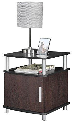 Ameriwood Home Carson End Table with Storage, Cherry/Black - bedroomdesign.us