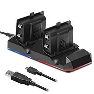 Xbox One Battery Charging Dock Kingtop Dual Charger Station with 2 x1200mAh Rechargeable Batteries and USB Cable For Xbox One One S Newest One X Xbox One Elite Controllers from KingTop