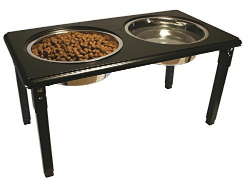 Adjustable Height Double Diner - Ethical Pet POSTURE-PRO Adjustable Double Diner, Black, 2-Quart