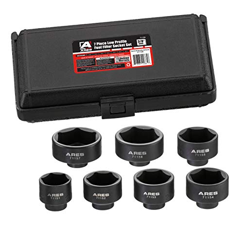 (ARES 71150 | 7-Piece Low Profile Fuel Filter Socket Set | Low Profile Design for Easy Access | Popular Sizes for Multiple Applications | Chrome Vanadium Steel with Manganese Phosphate Coating )