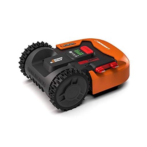 Worx Tagliaerba Robot da Giardino Landroid WR130E, Rasaerba Elettrico a Batteria 20 V, Tosaerba 3 Lame Mobili, Comando Wi-Fi