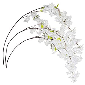 Royal Imports Cherry Blossom Flowers Artificial Fake Silk 3 Branches for Bouquets, Weddings, Valentines, Wreaths, Crafts 112