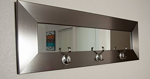 Pub Mirror (BrandtWorks USA Last Look Mirror with Hooks, Silver)