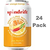 Spindrift Sparkling Water, Orange Mango Flavored, Made with Real Squeezed Fruit, 12 Fluid Ounce Cans, Pack of 24 (Only 10 calories per Can)