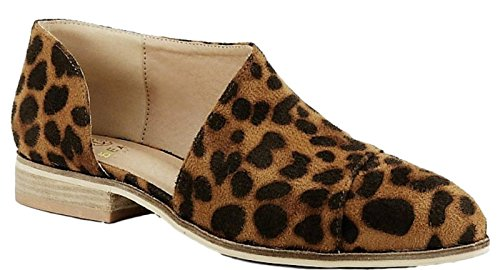 Beast Fashion Carter-05 Women D'Orsay Slip On Pointy Cap Toe Extreme Cut Out Ankle Flat Bootie Leopard Print Camel 6.5 (Suede Print Flats)