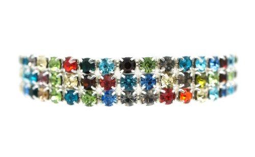 [Petite Classic Silver 3 Row Multi Colorful Rhinestone Stretch Tennis Cuff Bracelet] (Las Vegas Showgirl Costume)