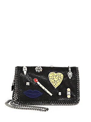 Stella-Mccartney-Crystal-Embellished-Clutch-Black-Silver-Lips-Match