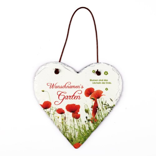 Cera & Toys Gartenschild mit Blumenmotiv als Türschild - mit kostenlosen Namensaufdruck