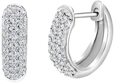 Sterling Silver Pave Cubic Zirconia Pave Horseshoe Huggie Earrings