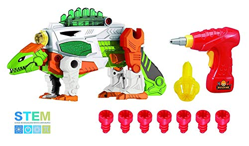 Build Me Take A Part 3-in-1 Dinoblaster Transforming Dinosaur and Toy Gun with Power Drill Toy for Construction with Lights and Sounds. -