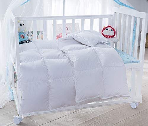 Lightweight Winter Baby/Toddler White Goose Down Comforter Duvet Insert for Crib Bedding 100% Cotton Shell Hypoallergenic Down Proof (White, L) from Baby Goose