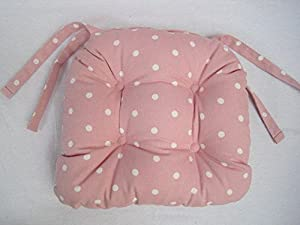Amelia Polka Dots Spots Chunky Pink Dining Garden Chair Seat Cushion Pads  Two (2)