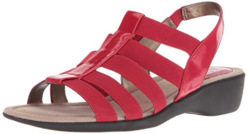 - LifeStride Women's Tania Flat Sandal, red, 7 M US