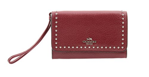 Coach Wristlet in Rivets Polished Pebble Leather, F66194 (Burgundy)