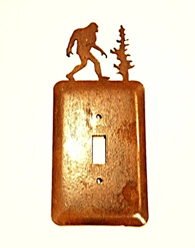2 Bigfoot Electric Single Toggle Metal Rusted Rustic Wall Plate Cover approx 3 1/4''w X 8.25''h by 1st American Metal Art