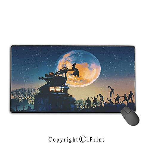 Waterproof mouse pad,Fantasy World,Dead Queen in Castle Zombies in Cemetery Love Affair Bridal Halloween Theme,Blue Yellow,Ideal for Desk Cover, Computer Keyboard, PC and Laptop Mouse pad with lock,15]()