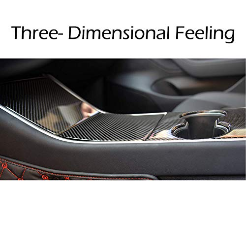 BMZX for Model 3 Car Center Console 3D Epoxy Wrap Kit Protection Carbon Fiber Stickers(3 PCS)