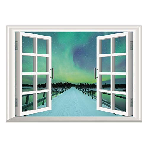 SCOCICI Removable Wall Sticker/Wall Mural/Northern Lights,Long Mystic Sky Over Bridge in Snowy Arctic Frozen River Image,Lime Green Petrol Blue/Wall Sticker -